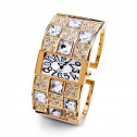 Ladies Gold Tone White Round Square CZ Bangle Watch