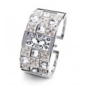 New Ladies Silver Tone White Checker CZ Bangle Watch