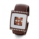 New Ladies Square CZ Bezel Brown Modern Bangle Watch