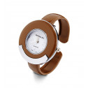 New Ladies Brown Silver Tone Round Bezel Bangle Watch