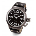 Men's Gun Metal Bezel Military Dial Black Leather Watch