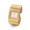 Ladies Gold Tone White CZ Groove Bangle Watch Bracelet