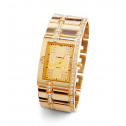 New Gold Tone Round White CZ Square Dial Wrist Watch