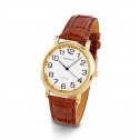 New Mens Brown Leather PU Strap Gold Tone Wrist Watch