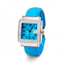 Ladies CZ Square Bezel Silver Tone Blue Bangle Watch