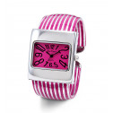 New Ladies Square Silver Tone Pink Striped Bangle Watch