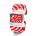 New Women's Square Silver Tone Red Striped Bangle Watch