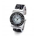Women's Black Silver Tone Mother of Pearl Bangle Watch