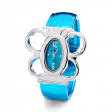 New Ladies Blue Dial Butterfly Silver Tone Bangle Watch