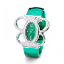 Ladies Silver Tone Butterfly Green Strap Bangle Watch