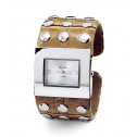 Women's Silver Tone Bezel Yellow Metal Bangle Watch
