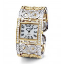 New Women's Mother of Pearl CZ Two Tone Bangle Watch