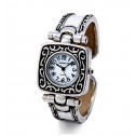 Women's Vintage Antique Silver Tone Black Bangle Watch