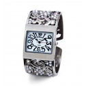 White Mother of Pearl CZ White Bead Womens Bangle Watch