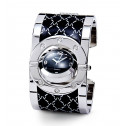 Women's Black Silver Tone Rotating Case Bangle Watch