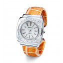 Brown Silver Tone CZ Round Dial Fashion Bangle Watch