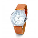 Men's New Silver Tone Greek Key Orange Leather Watch