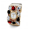 New Red White Black CZ Gold Tone Women's Bangle Watch