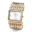 New Square Dial Gold Tone Grill Bracelet Women's Watch