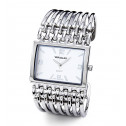Square Dial Silver Tone Grill Bracelet Women's Watch
