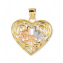 14k Yellow White Rose Gold Lovebirds Flower Pendant