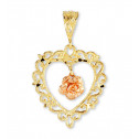 14k Rose Yellow Gold Vintage Style Heart Flower Pendant