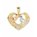 14k White Yellow Rose Gold Lovebirds Heart Love Pendant
