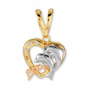 14k White Rose Solid Gold CZ Dolphin Love Heart Pendant