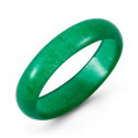 Polished High Half Domed Natural Green Jade Ring Band