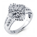14k White Gold 0.85 Ct Round Baguette Diamond Ring