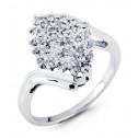 Solid 14k White Gold Bypass 0.40 Ct Round Diamond Ring