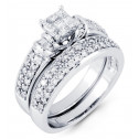 14k White Gold Princess Round Baguette Diamond Ring Set