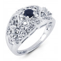 14k White Gold Heart Sapphire Round Diamond Ring