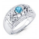 14k White Gold Blue Topaz Round Baguette Diamond Ring