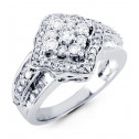 14k White Gold 0.99 Ct Round Baguette Diamond Ring