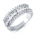 14k White Gold Triple Crown 0.79 Ct Round Diamond Ring
