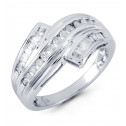 14k White Gold Band 0.55 Ct Round Baguette Diamond Ring