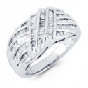 14k White Gold Wide Crown 1.01 Ct Baguette Diamond Ring