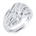 14k White Gold Crossover 0.29 Ct Round Baguette Ring