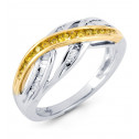 14k White Solid Gold Yellow Round Baguette Diamond Ring