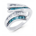14k White Gold Bypass Blue Topaz Baguette Diamond Ring