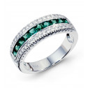 14k White Gold Emerald 0.53 Ct Round Diamond Ring Band