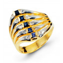 14k Yellow White Gold Blue Sapphire Round Diamond Ring