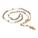 14k White Rose Gold Cross Crucifix Rosary Necklace