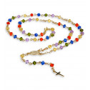 14k Yellow Gold Rosary Colored Cubic Zirconia Necklace