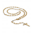 14k Yellow Gold Cross Religious Beads Rosary Necklace
