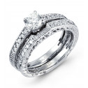 14k White Gold 0.95 Ct Round Diamond Ring Wedding Set