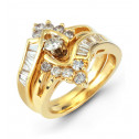 14k Yellow Gold 0.98 Ct Round Baguette Diamond Ring Set