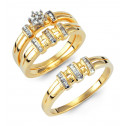 14k Solid Gold Round Baguette Diamond Wedding Ring Trio