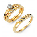 Wedding Set 14k Solid Gold Round Baguette Diamond Rings